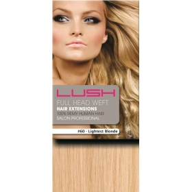 "20"" DIY Weft (Clips Not Attached) Human Hair Extensions #60 Lightest Blonde"