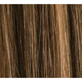 "20"" Deluxe Double Wefted Clip In Human Hair Extensions #4/27 Dark Brown/ Caramel Mix"