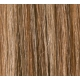 "20"" Clip In Human Hair Extensions FULL HEAD #6/613 Medium Brown/ Bleach Blonde Mix"