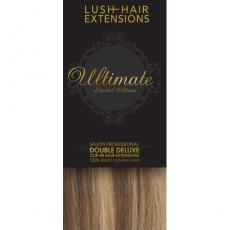 """18"""" Clip In Human Hair Extensions ULTIMATE FULL HEAD #8/613 Light Brown/ Blonde"""